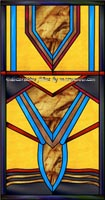 Geometric Arts & Crafts Stained Glass Window Art