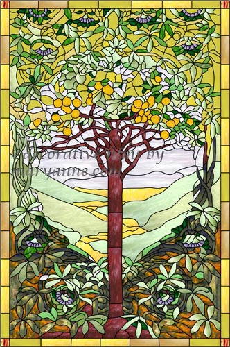 Stained Glass Window Cling Film.Tiffany Tree Of Life